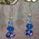 925 SS Blue Peacock Lampwork Swarovski Crystal Elements and Bali Earrings by kittenkat22