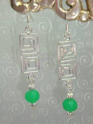 925 SS Genuine Green Jade Earrings hand made by kittenkat22