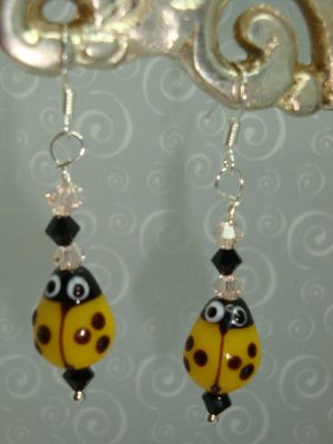 Yellow Lady Bug Lampwork Earrings 925 SS with Swarovski Crystals