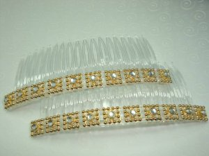 "4"" long sun goddess design hair comb fascinator pair"
