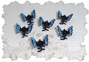 SET OF 6 Royal Blue RHINESTONE Mini Butterfly hair Claw Clips (3A)