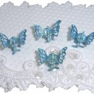 Four Medium Blue Aurora borealis Rhinestone mini butterfly hair claws