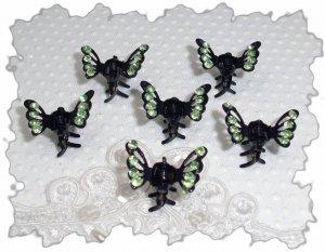 Set of six green rhinestone Mini Butterfly hair claw clip