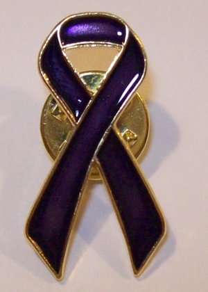PURPLE CANCER AWARENESS RIBBON LAPEL PIN RELAY FOR LIFE