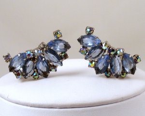 VINTAGE EARRINGS Julianna Blue AB Rhinestone Dazzlers
