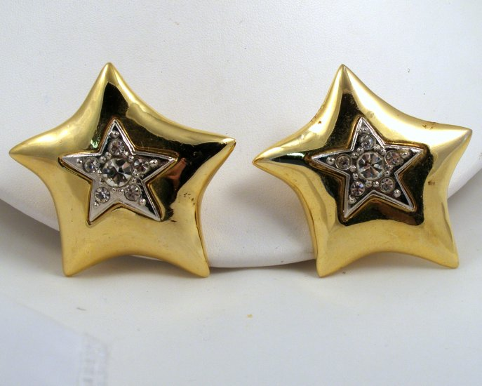 VINTAGE EARRINGS Big Star Clips Rhinestones