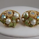 VINTAGE EARRINGS Fruit Salad AB Rhinestone White Bead Green Floral