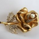 VINTAGE PIN BROOCH Golden Rose Rhinestones Pearl GORGEOUS
