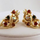 VINTAGE EARRINGS Coro Orange Green Amber Rhinestone AB