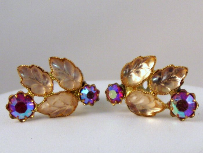 VINTAGE EARRINGS Fruit Salad Pink Peach AB Rhinestone Leaves