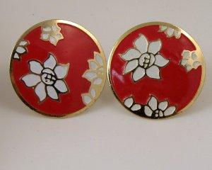 VINTAGE EARRINGS White Red Enamel Flower Disks Clips