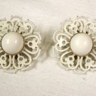 VINTAGE EARRINGS Lacy White Filigree Open Scrollwork Enamel Clips