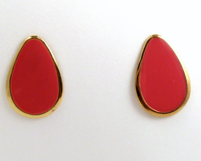 VINTAGE PIERCED EARRINGS Coral Pink Red Pear Enamel