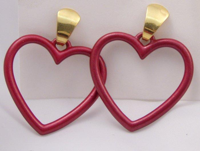 VINTAGE EARRINGS Burgundy Red Open Hearts Pierced