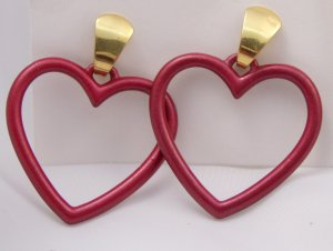 VINTAGE EARRINGS Burgundy Red Open Hearts Pierced
