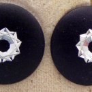 VINTAGE EARRINGS Black Shiny Carved Aluminum Atomic Disk Pierced