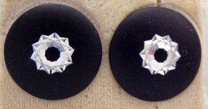 VINTAGE EARRINGS Black Shiny Carved Aluminum Atomic Disk Pierced