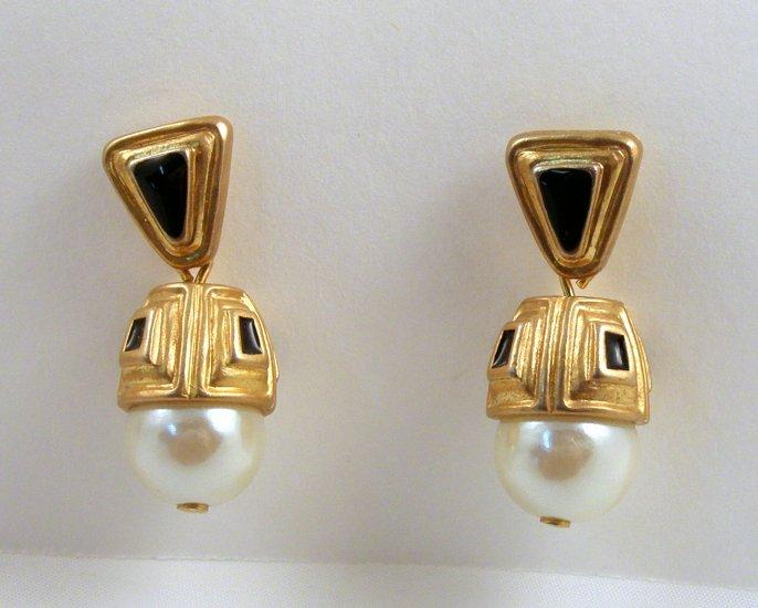 VINTAGE EARRINGS Egyptian Revi Pearly Dangle Black Enam