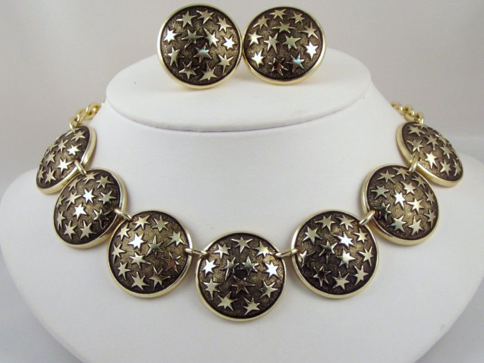 VINTAGE NECKLACE EARRINGS SET Black Textured Stars Celestial Moon Parure