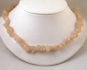 "VINTAGE NECKLACE Genuine Rose Quartz Nugget Stone Beads 30"""