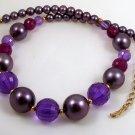 VINTAGE NECKLACE Big Purple Facet Lucite Beads Japan