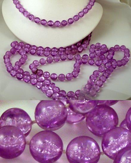 "VINTAGE NECKLACE Flapper Length Purple Beads 82"""