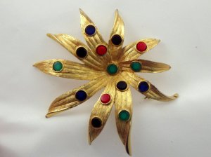 VINTAGE PIN BROOCH Kramer Red Green Blue Dots WOW