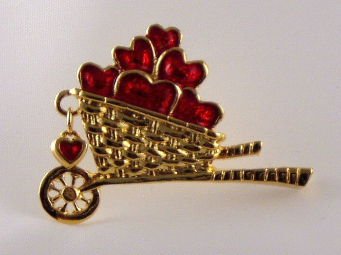 VINTAGE PIN Red Heart Wheel Barrow Gardenng Avon Enamel