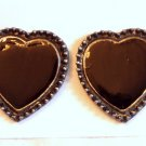 VINTAGE EARRINGS Black Enamel Hearts Pewter Clips WOW