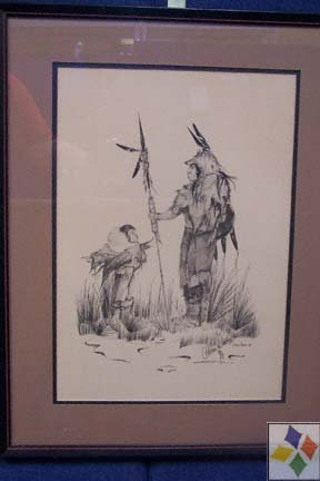 Framed Signed Sketch By Chebon Dacon 21 X 27