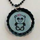 Lasered Mirror Bottle Cap Necklace PANDA w/ BOW