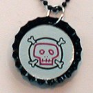 Lasered Mirror Bottle Cap Necklace ABSTRACT SKULL
