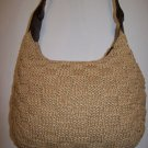 Vintage The SAK Crochet Tan Rattan Knit Hobo Purse Handbang with Brown Leather Strap 1990s