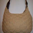The SAK Crochet Raffia Rattan Knit Hobo Purse Shoulder Bag Leather Strap VINTAGE ORIGINAL 1990s
