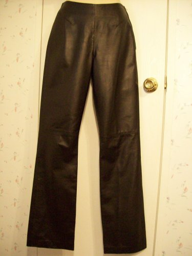 NETO French Laundry Black Lamb Skin Butter Soft Leather No Waist Pants 4