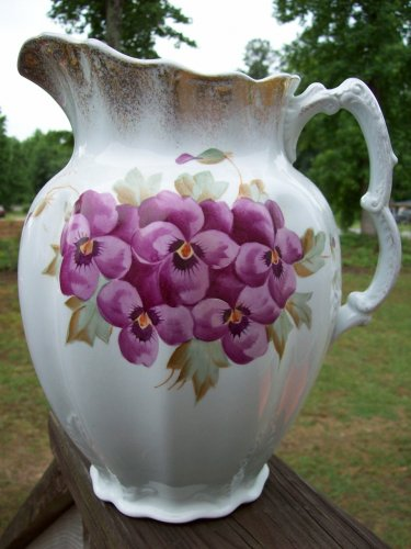 Johnson Brothers Royal Ironstone Purple Pansy Flower Raised Relief Transferware Antique Pitcher