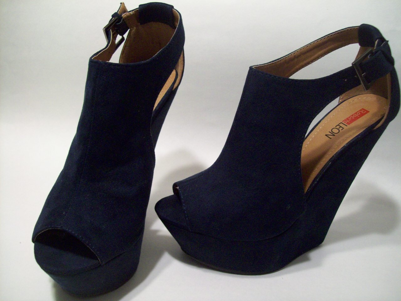 Dark Navy Blue Faux Suede Peep Toe Platform 6 inch Sexy Wedge Heels Shoes 7 1/2 M