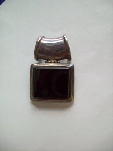 Sterling Silver Bezel Set Black Agate Stone Square Slide Pendant Barrel Style Bale 925 Thailand