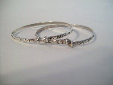2 Sterling Silver Flower and Circle Stamped Design Vintage Ethnic Bangle Bracelets