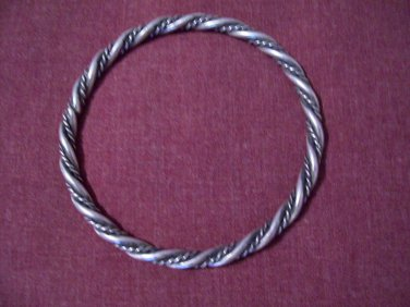 Sterling Silver Native American Southwest Twist Rope Braid Heavy Bangle Bracelet