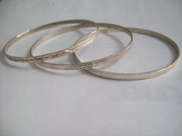 3 Diamond Cut Sterling Silver MILOR 925 Etched Italian Italy Vinatge Thin Bangle Bracelets