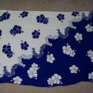 Navy Blue and White Hawaii Hawaiian Hibiscus Flower Adorned Throw Beach Cover Up Thin Blanket