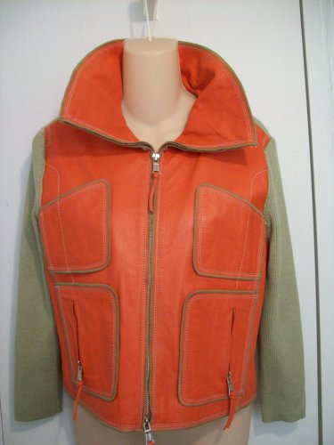 ONE GIRL WHO Orange Leather Khaki Color Stretch Ribbed Knit Satin Lined Zip Up Cardigan Jacket L