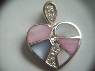 Sterling Silver Block Heart PINK WHITE BLUE Multi Color Mother of Pearl CZ Charm Pendant