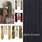 "Dark Brown Synthetic Hair Clip In Velcro Wrap Around Straight Long High Ponytail Pony Tail 23"" NEW"