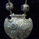 Midieval Style Silver Tone Sliding Filigree Ball 3D Shield Decor Pendant and  18 inch Chain Necklace