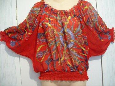 SOLITAIRE by RAVI KHOSLA Ruche Ruffle Trim Sheer Chain Rope Horsebit Pattern Blouse Top Shirt PM