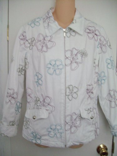 WEEKENDERS Brand Clothing Deep Purple Green Turquoise Embroidered Flower ZipUp White Blazer Jacket M