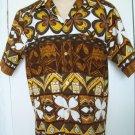 Vintage 1970s KEONE Hawaiian Hawaii Tiki Barkcloth Brown Gold White Flower Short Sleeve Shirt M