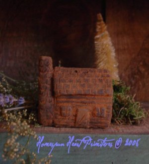 Primitive Beeswax Little Log Cabin